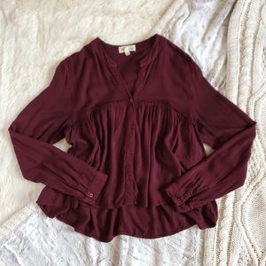 Anthropologie Cloth & Stone Babydoll Top In Wine